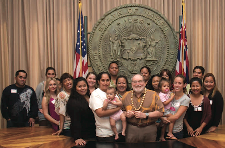 Governor Neil Abercrombie with HCAP Head Start families.