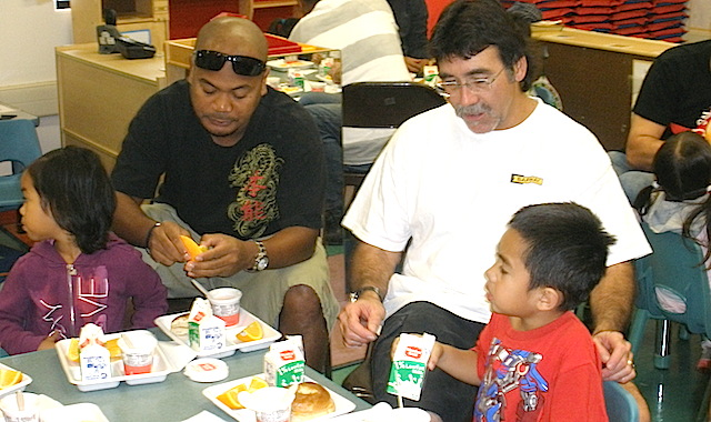 Dad's volunteering at Head Start