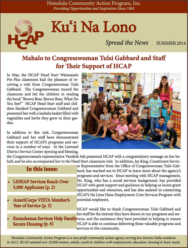 Photo of HCAP Summer Quarterly 2014