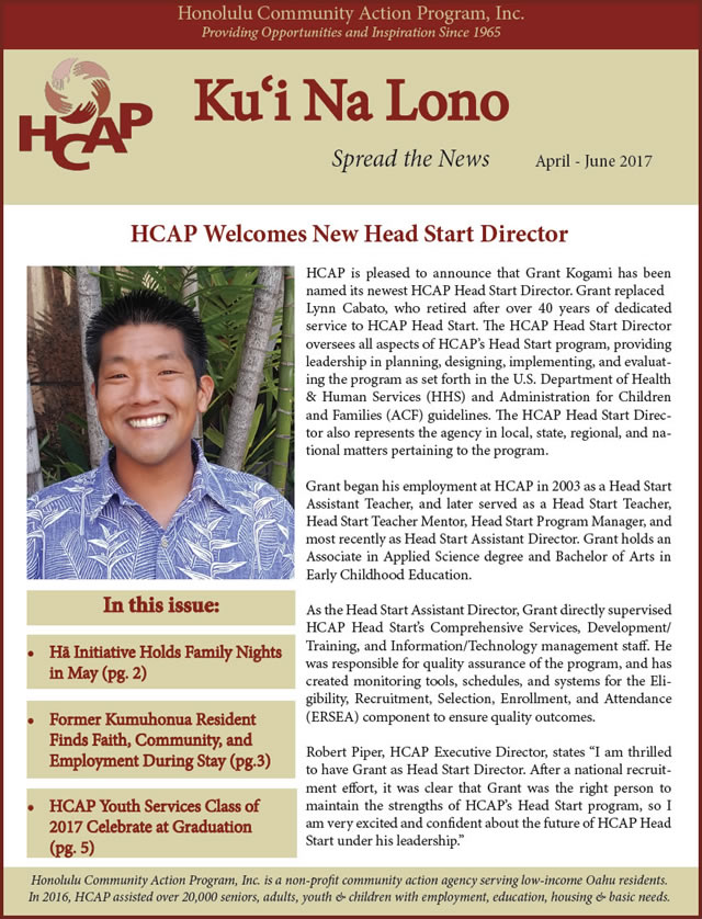 Photo of HCAP Summer 2017 Newsletter