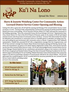 HCAP Spring 2014 Newsletter