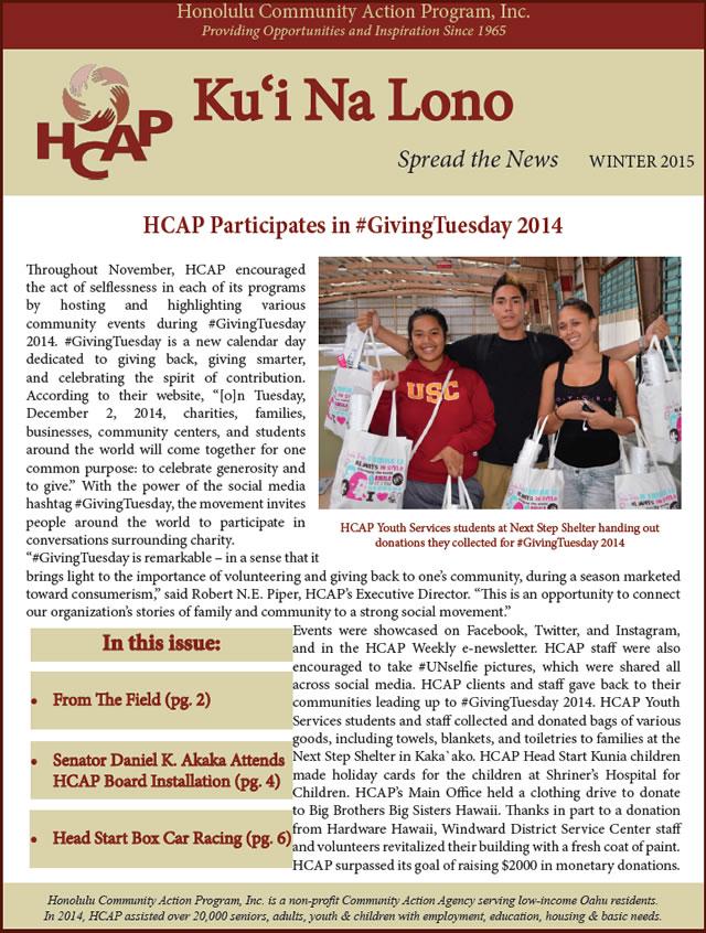 HCAP Winter 2015 Newsletter