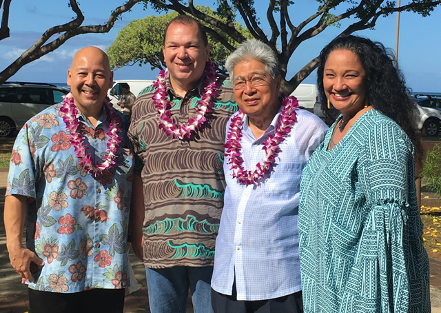 Photo of Ernie Martin, Robert Piper, Daniel Akaka, and Maile Taualii