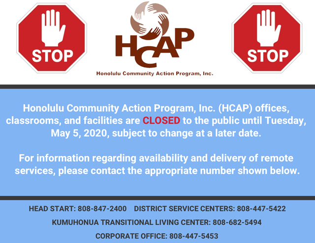 Photo of HCAP is closed sign_May 5th