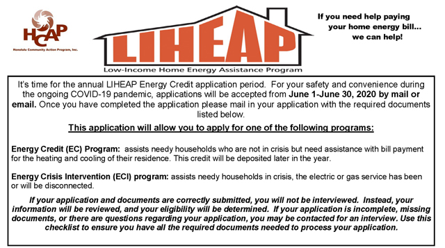 Photo of LIHEAP Flyer 2020